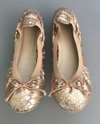 NEXT Girl Rose Gold Ballet Shoes Size 12 Kids Ballerina Bow Sparkly Xmas Party