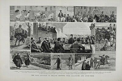 IRELAND Irish History, Land Wars Agrarian Riots Huge 1880s Antique Print
