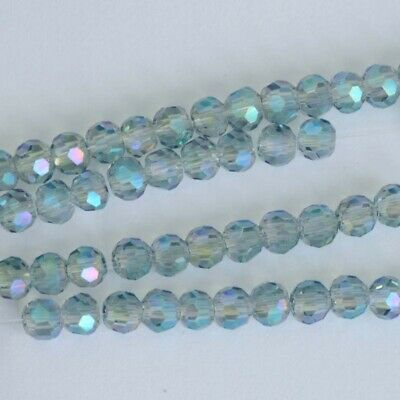 Vtg 25 PALE BLUE AB ENGLISH CUT GLASS BEADS 10mm faceted matte  #041115c