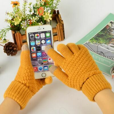 Winter Warm Knitted Gloves Polyester Cotton Hand-Wears Fashionable Wrist Mittens