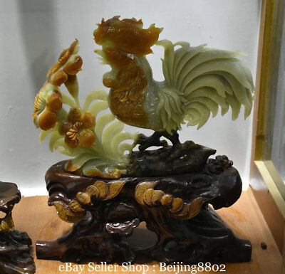 "16"" Fine China Natural Xiu Jade Carving Flower Rooster Cock Animal Lucky Statue"