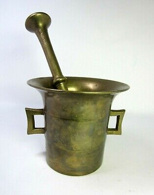 Vintage Solid Brass Mortar & Pestle Total Wht. 7.6 lbs. Very Good Condition!