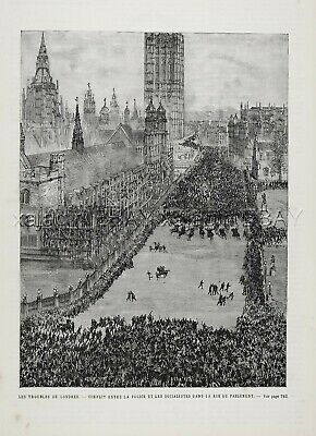 Irish History Bloody Sunday Riots in London England, Ireland 1880s Antique Print