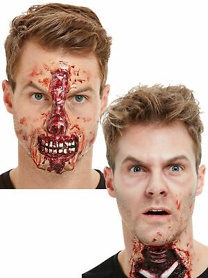 Adult Halloween Latex Wound FX Gory Exposed Face Halloween Fancy Dress Accessory