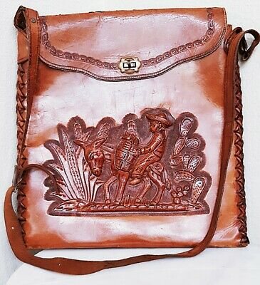Vintage 1960 S Mexican Hand Tooled Leather Purse Cross Body
