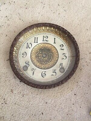 "Antique Ingraham Mantle Clock Bezel Crystal And Face 5.75"" Diameter Very Good"