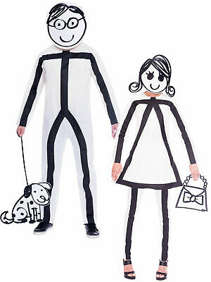 Cartoon Stick Man Hangman Costume Mens Ladies Couples Fancy Dress Outfit Funny