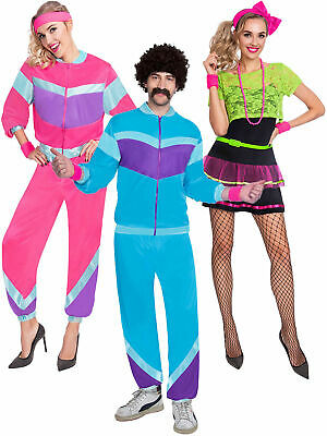 Adults 80s Costume Mens Ladies Shell Suit  Retro Tracksuit Fancy Dress Outfit