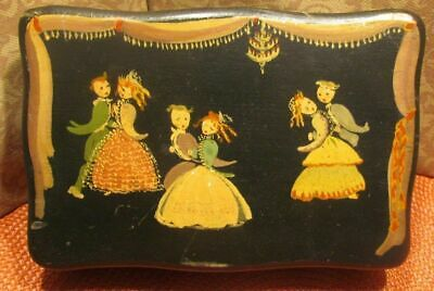 """Hand Painted Tole Box Wood Folk Art  Figural  Victorian Dancers Signed 4"""" x 6"""""""