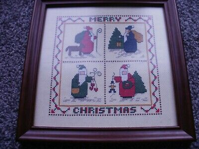 completed cross stitch - merry christmas  framed,  made around 1997/99