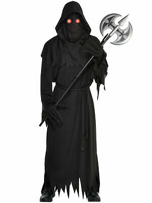 Mens Light Up Eyes Grim Reaper Costume Adults Halloween Fancy Dress Outfit Scary