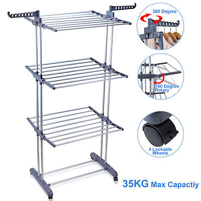 Airers/ Driers/ Clothes Horses Home, Furniture & DIY Airer 2 3 4 Section Fold Laundry Horse Dryer Rack Hanger Indoor Outdoor Rail