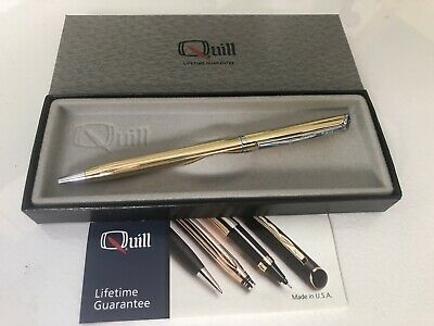 Gold Quill Refillable Ballpoint Pen New in Box & Papers