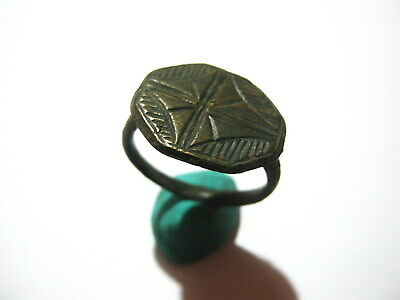 Late Roman-Byzantine Bronze Ring Engraved Cross 4th-7th century AD