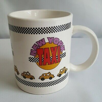 Vintage New York City Taxi Cab Coffee Tea Mug Cup Checkered