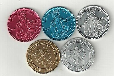 5 Elvis Presley King Rock N Roll Tribute Coins Tokens Medallions Doubloons