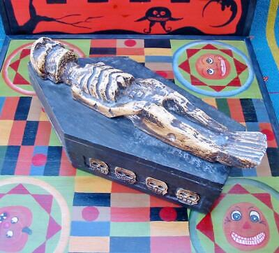 Vintage Halloween Wood Carved Coffin and Skeleton 13 inches Long Super Cool