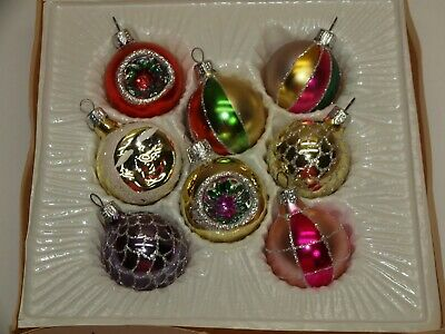 """Vintage Glass Ornaments Set of 8 Balls 1 3/4"""" EUROPEAN Style INDENT Hand Painted"""