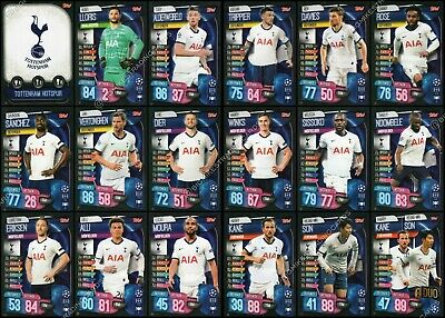 Match Attax 2019/20 19/20 Tottenham / Spurs Full 18 Card Team Set + Badge & Duo