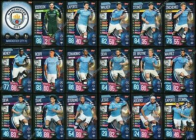 MATCH ATTAX 2019/20 19/20 MANCHESTER CITY FULL 18 CARD TEAM SET inc BADGE & DUO