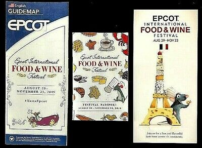NEW 2019 Walt Disney World EPCOT FOOD & Wine Guide Map and Passport