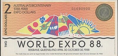 **1988 Australian Brisbane World Expo $2 note UNC **