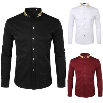 Zeroyaa Men/'S Hipster Henley Neck Slim Fit Long Sleeve Banded Collar Shirt With