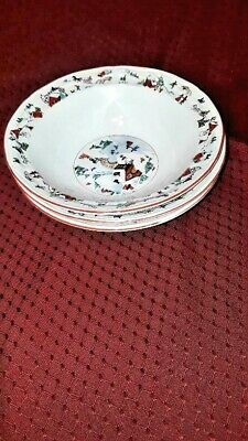"""Farberware White Christmas 95 #391 Soup Cereal Salad Bowls 7"""" (Set of 3)"""