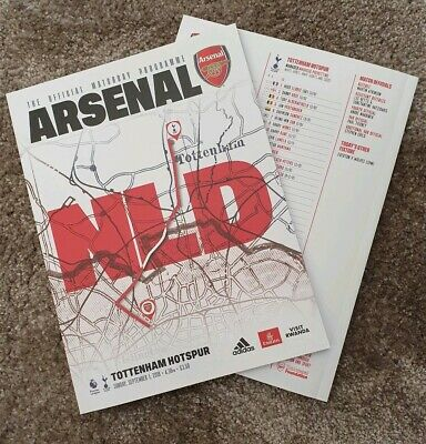 Arsenal vs Tottenham Hotspur Spurs London Derby 01/09/19 Programme!