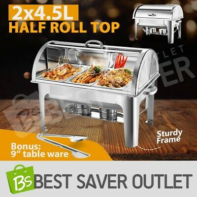 2x Bain Marie Bow Chafing Dish Stainless Steel Half Roll Top Buffet Warmer 3Lx3