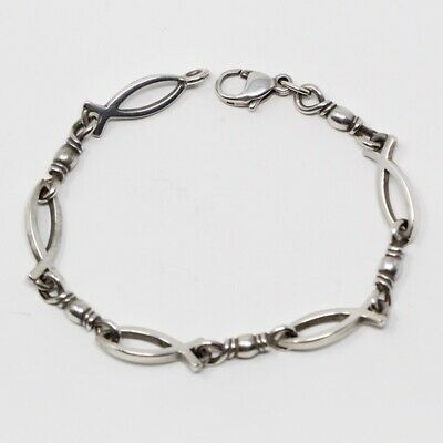 JAMES AVERY Sterling Silver Fishers Of Men Ichthus Fish Bracelet MEDIUM 7 5/16""