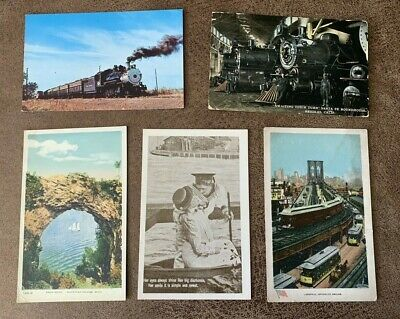 Lot of 40 Vintage Postcards Railroad, Mackinac Island, Kentucky, Florida, & more