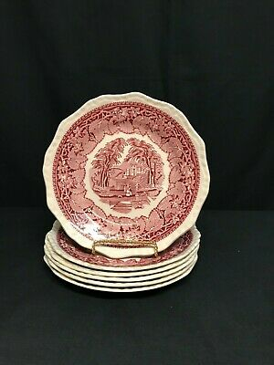"""Masons Red/Pink Vista Ironstone Round Salad Plate 8"""" 6 AVAILABLE $6.99 EACH"""