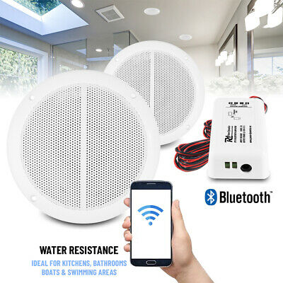 Bathroom Kitchen Ceiling Speakers Set with Wireless Bluetooth Amplifier System