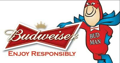 """Budweiser Beer Advertise Budman Icon Mancave Sign 13""""X19"""" Size Poster Print #1"""