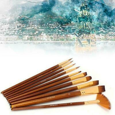 10pcs Artist Paint Brushes Set Acrylic Oil Watercolour Painting Craft Art Model