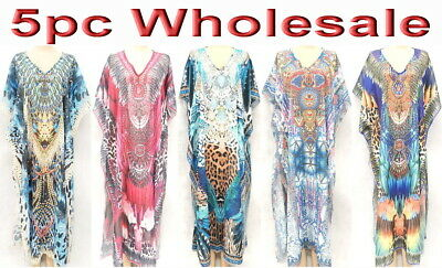 5pc Wholesale X-Large Women Hand Embellished Kaftan Boho Dress Free Size Mixed