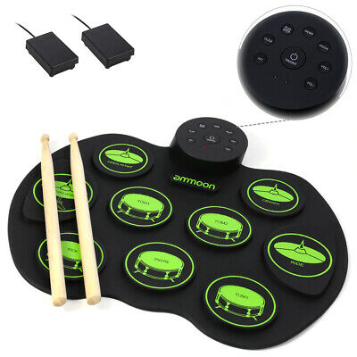 ammoon Portable Electronic Drum Digital Roll-Up 9 Drums Pads 2 Foot Pedals
