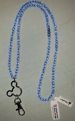"Mickey Mouse Icon Blue Crystal Beaded Lanyard - Disney Parks 33"" NWT"