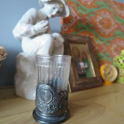 Tea cup glass holder. Soviet symbols of the USSR and faceted glass