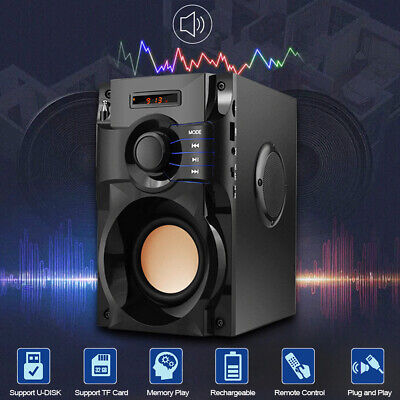 Wireless Bluetooth Speaker Stereo Subwoofer Bass Music Player AUX LCD FM Radio