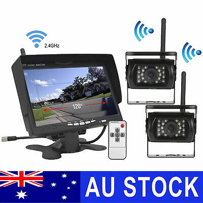 "7"" Wireless Rear View Kit HD LCD Monitor+Reverse Camera For Truck Caravan VAN RV"