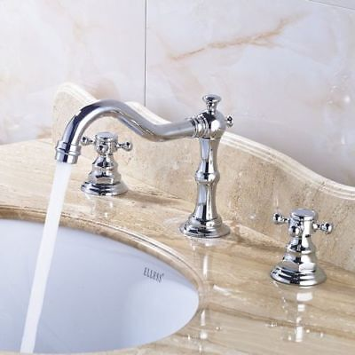8 Inch Bathroom Sink Faucet Deck Mounted Double Handles 3 Holes Chrome Mixer Tap