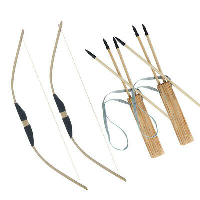 Handmade Wooden Bow Arrows Set with Quiver for Kids Children Youth Outdoor Play