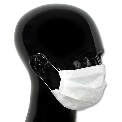 2,000 Face Masks - 2Ply Paper Disposable - Pleated & Elasticated for Comfort