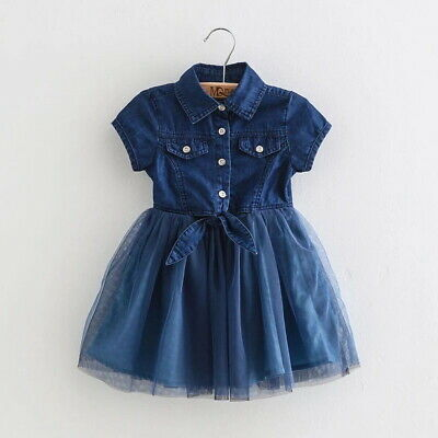 Children Girls Short Sleeve Denim Tulle Dress Casual Kids Party Dress Age 2-7 Y
