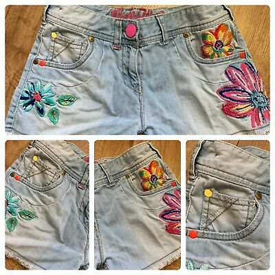 NEXT Girls Lovely light Denim Shorts Age 12 Years Floral Flowers