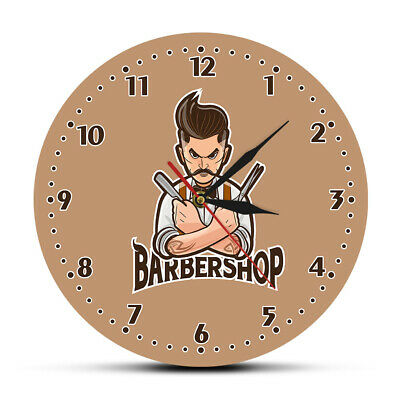 Barber Shop Silent Wall Clock Hair Beauty Cuts Shaves Barbershop Interior Decor