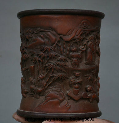 "7.2"" Antique Chinese Bamboo Carved Old Man People Dynasty Brush Pot Pencil Vase"