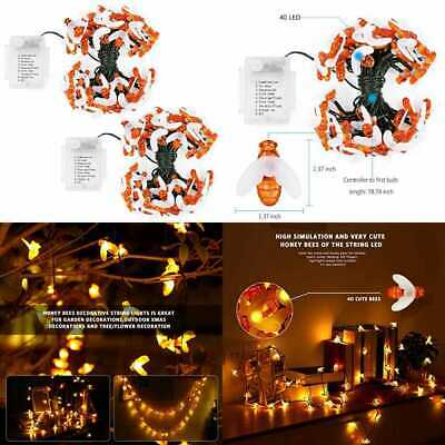 Bee LED String Lights Waterproof Decorative Dimmable Copper Wire For DIY B WHITE